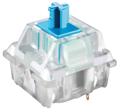 Cherry Cherry MX Blue RGB Clear Keyswitch - Plate Mount - Tactile, Click - 10 Pack