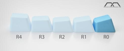 4-Key TPR Blank Rubber Keycap Set - Neon Blue - Row 0 image