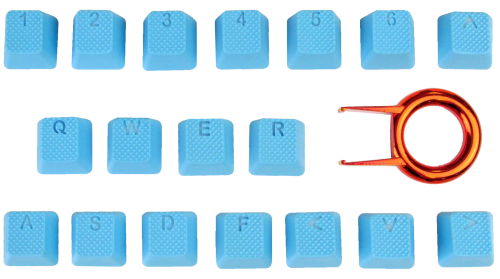 18-Key TPR Backlit Double Shot Rubber Keycap Set - Neon Blue