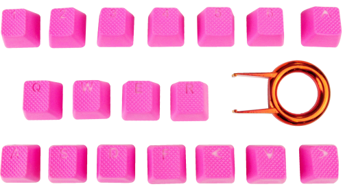 Tai-Hao 18-Key TPR Backlit Double Shot Rubber Keycap Set - Neon Pink