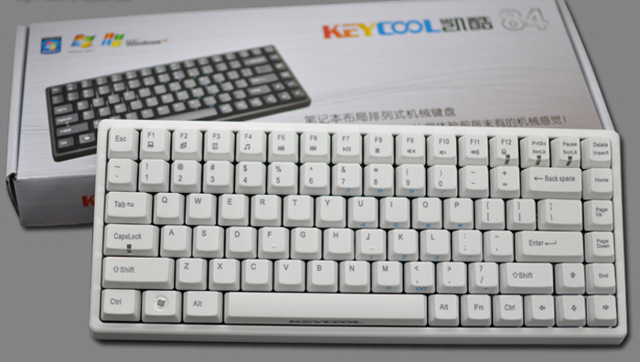 keycool white version 84 key pbt mechanical gaming keyboard blue