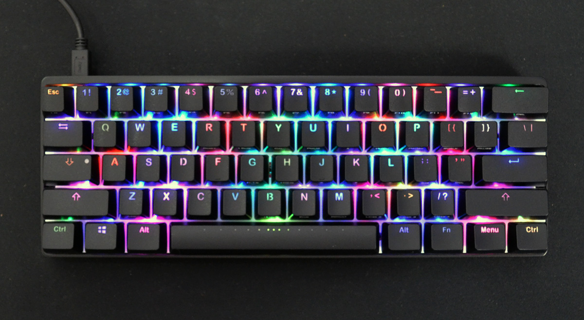Vortex Pok3r Black Case Rgb Led 60 Mechanical Keyboard