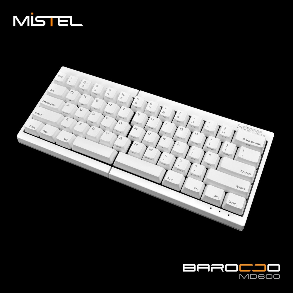 Mistel Barocco White PBT 60% PBT Mechanical Keyboard (Black Cherry MX)