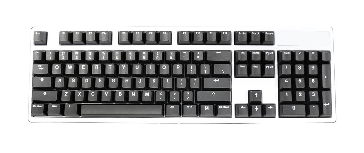 104 Key PBT Double Shot Keycap Set - White on Black (Vortex)