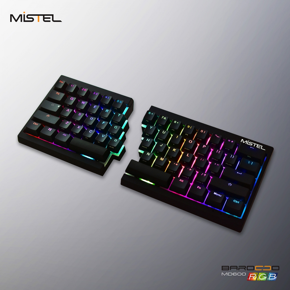 bd078decf3a Mistel Barocco Black RGB LED 60% Double Shot PBT Mechanical Keyboard ...