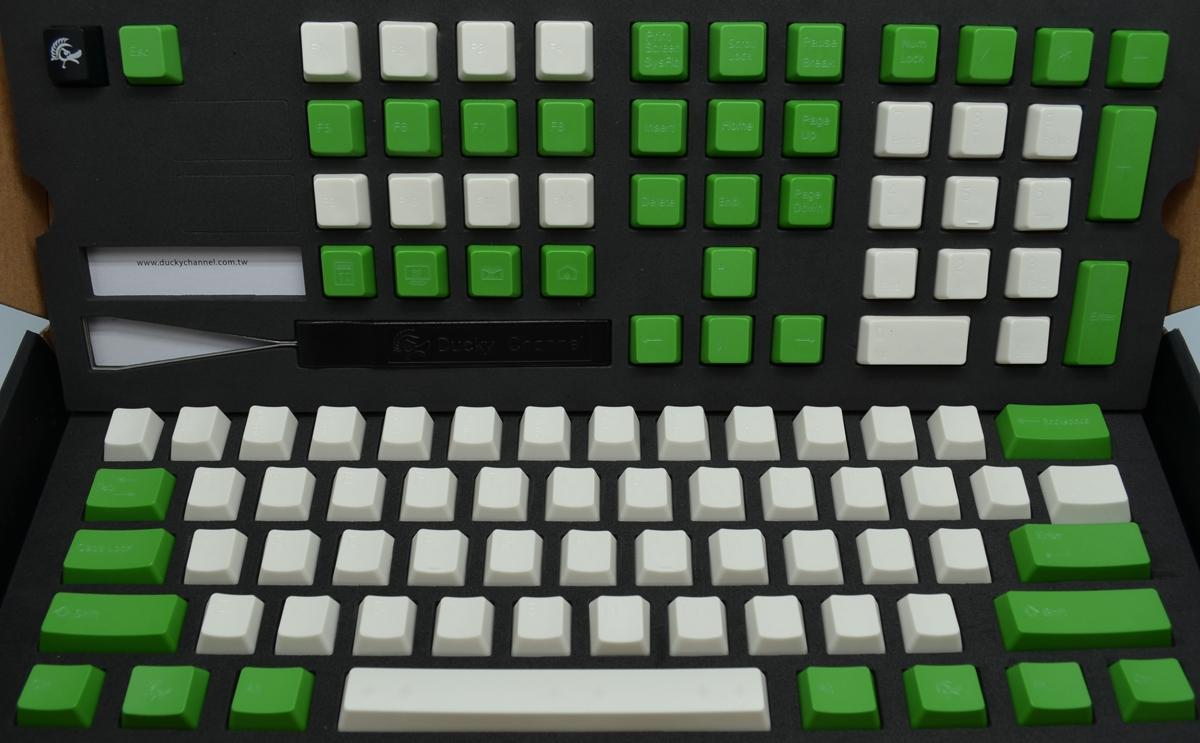 PBT Cherry MX Keycap Set - Laser Engraved Green/Cream (Ducky)