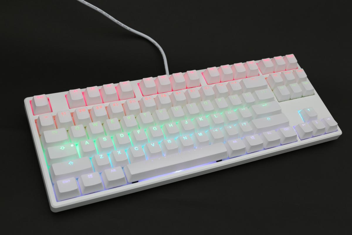 Youyun White Mechanical Keyboard RGB Led Backlit Blue Switches Small Compact Aluminum Keyboard with Detachable Cable,White