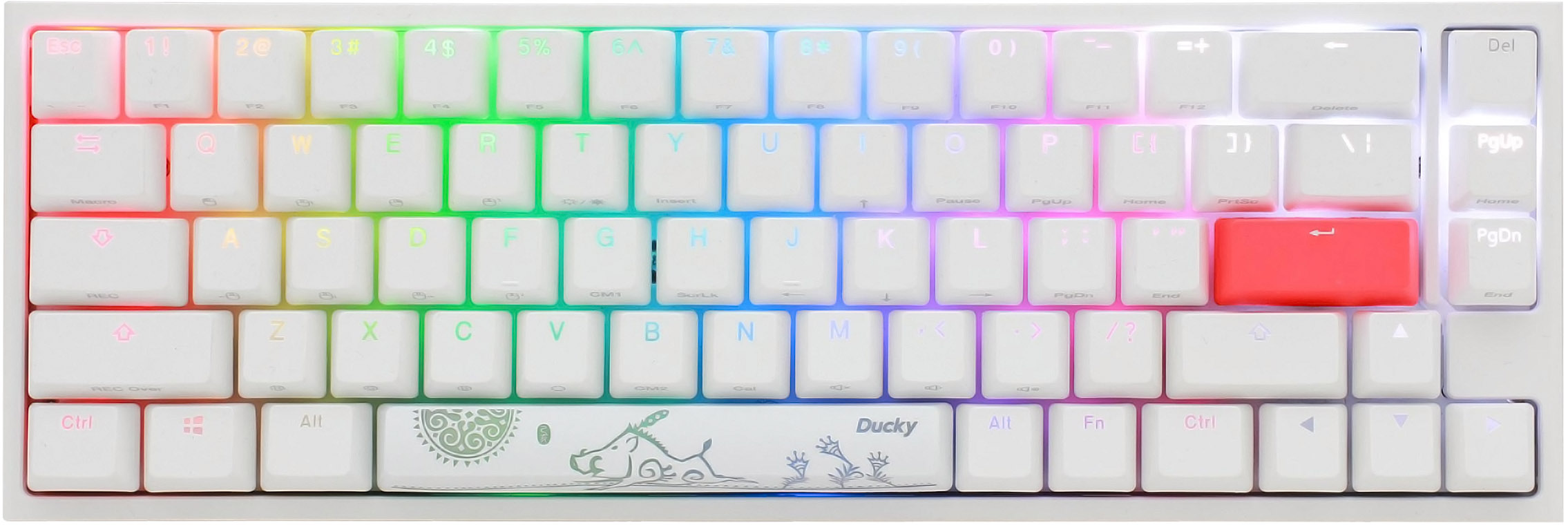 Ducky One 2 Sf Rgb Pure White Rgb Led 65 Double Shot Pbt Mechanical Keyboard With Cherry Mx Black Brown Blue Red Silver Silent Red Or Silent Blackkailh Box Whitekailh Box Pink Switches