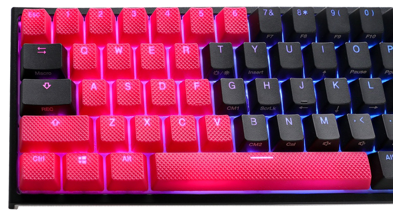 31-Key Rubber Backlit Double Shot Keycap Set - Red (Ducky) image