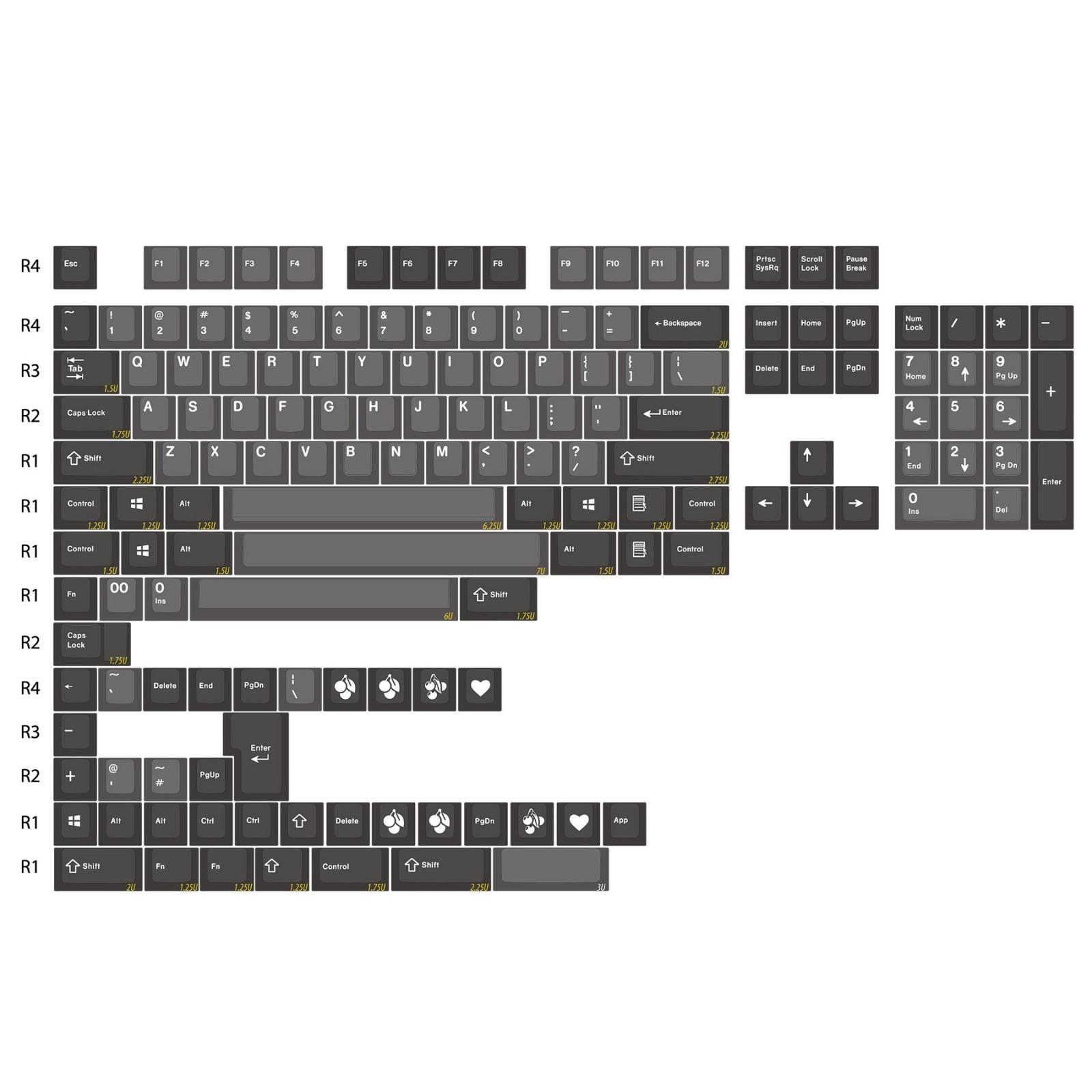 Doubleshot Abs Cherry Profile Keycap Set White Dolch Enjoypbt