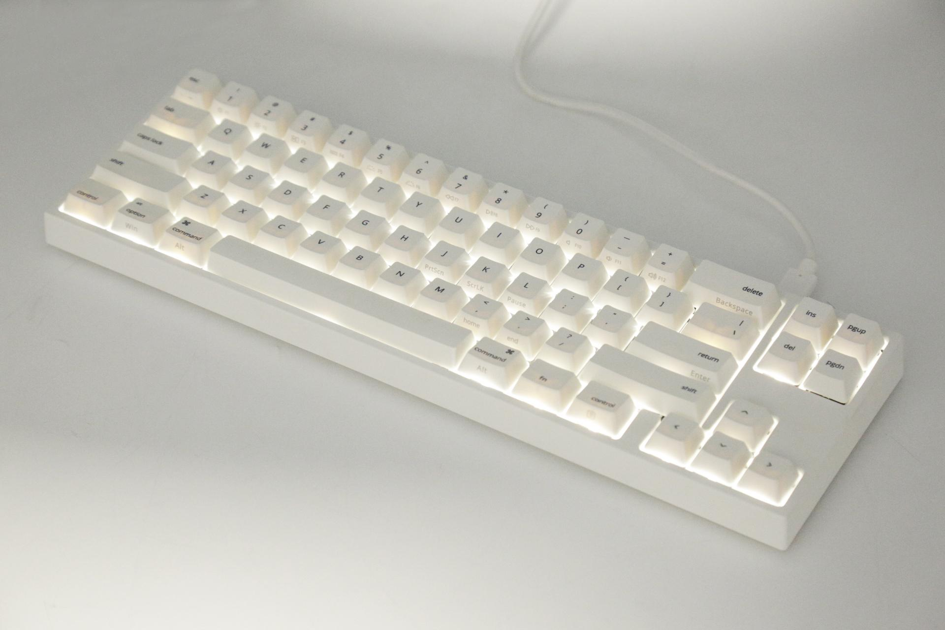 Ducky MIYA Pro Mac White LED 65% Dye Sub PBT Mechanical Keyboard with  Cherry MX Black, Brown, Blue, Red, Silver, Clear, or Silent Red switches