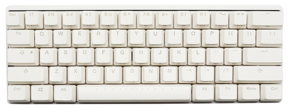 Returned Very Good Vortex Pok3r White Case Rgb Led 60 Double Shot Abs Mechanical Keyboard Cherry Mx Brown