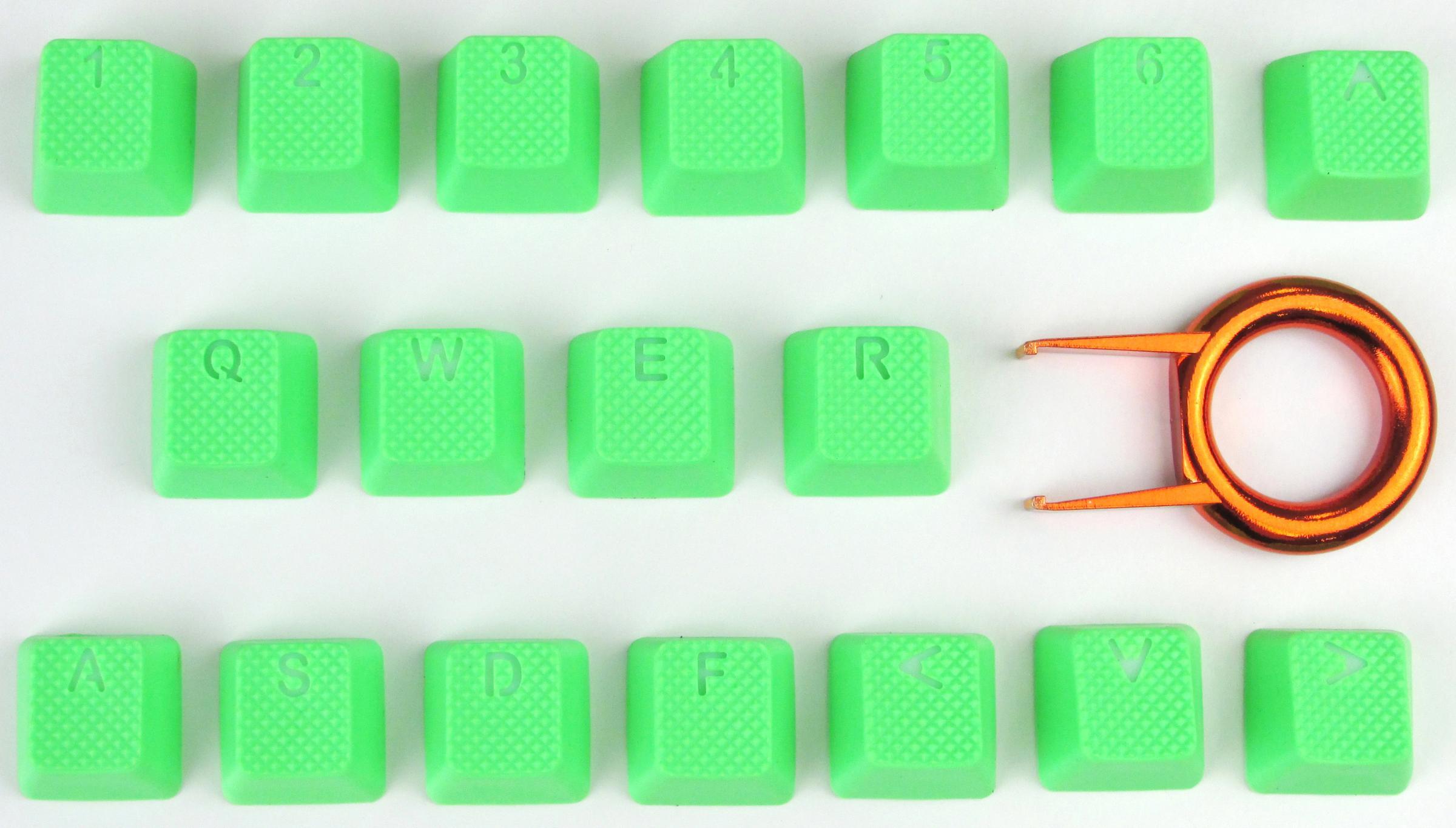 18-Key TPR Backlit Double Shot Keycap Set - Neon Green (Tai-Hao)